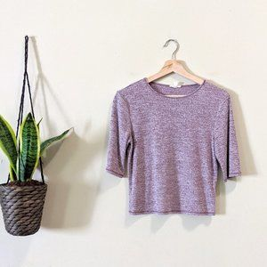 Urban Outfitters Ribbed 1/2 Sleeve Crop Top